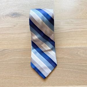 ADOLFO Striped Blue, White, and Silver Necktie